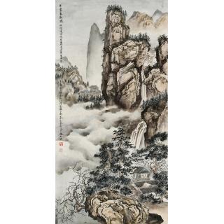 【已售】一级美术师 张天成三尺竖幅山水画《巨廬高秋图》