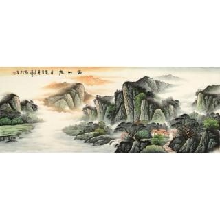 山水画名家 蒋大衛六尺横幅山水画《蜀山旭日》