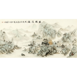客厅装饰画 刘远东四尺横幅工笔山水画作品《秋林泛艇》