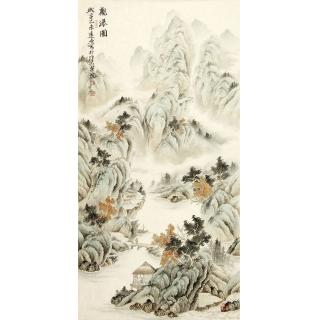 玄关装饰画 刘远东四尺竖幅工笔山水画作品《观瀑图》