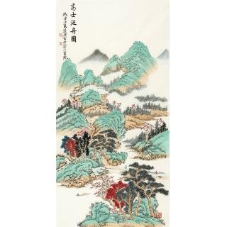 玄关装饰画 刘远东四尺竖幅工笔山水画作品《高士泛舟图》