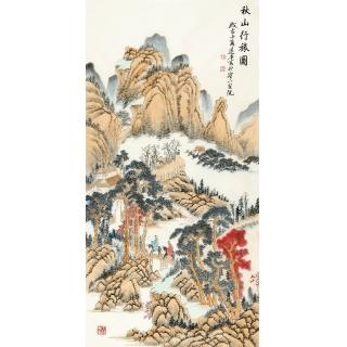 精品仿古画 刘远东精心力作国画《秋山行旅图》