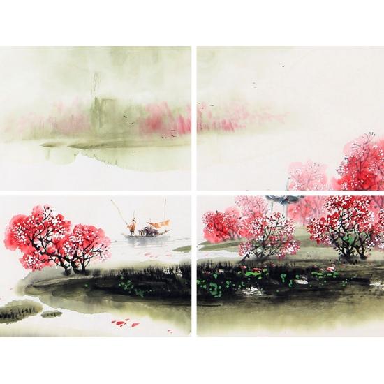 客厅装饰画 云天四尺斗方山水画《唐人诗意图》