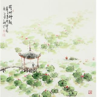 【已售】实力派画家云天四尺斗方山水画《荷畔神韵》