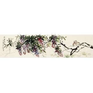 周丹青新品佳作国画紫藤图《紫气东来》