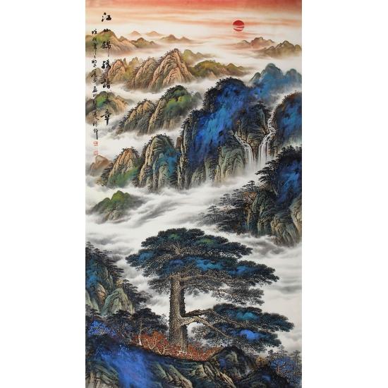传统经典风水画 陈厚刚六尺竖幅山水画作品迎客松《江山锦绣谱华章》