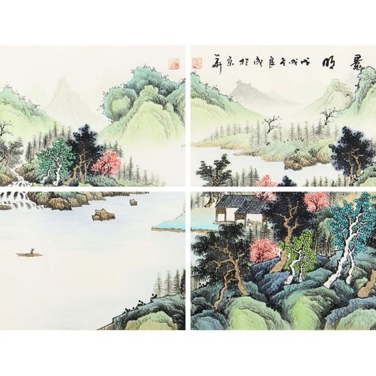 实力派画家宁良成三尺横幅写意山水画《春和景明》