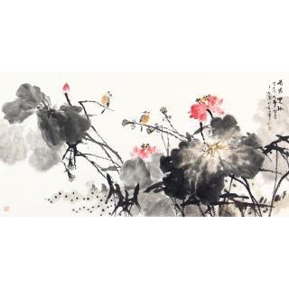 王占海四尺横幅花鸟画作品《荷塘双栖》