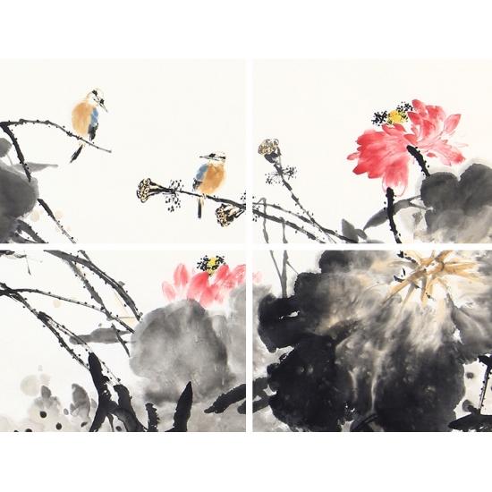 【已售】王占海四尺横幅花鸟画作品《荷塘双栖》