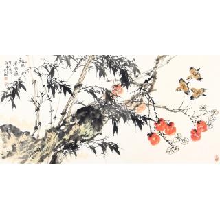 王占海四尺横幅花鸟画作品《秋风送香远》