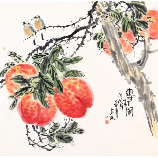 王占海四尺斗方花鸟作品《寿桃图》