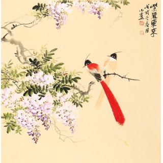 河南美协皇甫小喜四尺斗方写意花鸟画 紫藤图《紫气东来》