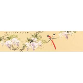紫气东来紫藤图 皇甫小喜写意花鸟画《紫气东来》