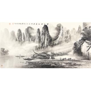 莫桂明三尺横幅水墨漓江山水画《家家都在画屏中》