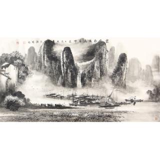 收藏之选 莫桂明三尺横幅水墨漓江山水画《家家都在画屏中》