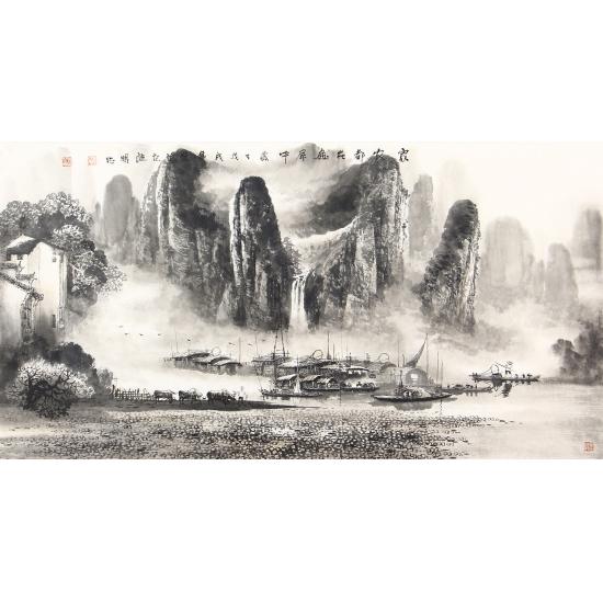 【已售】收藏之选 莫桂明三尺横幅水墨漓江山水画《家家都在画屏中》