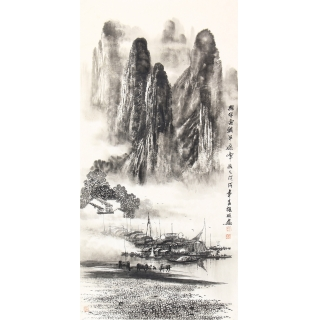 漓江山水画 画家莫桂明三尺竖幅手绘作品《兴坪雲锁半遮峰》