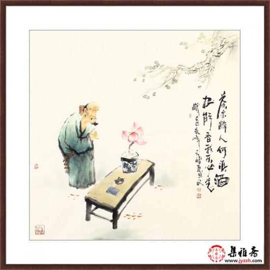 阳瑞萍四尺斗方人物画作品《茶亦醉人何须酒》