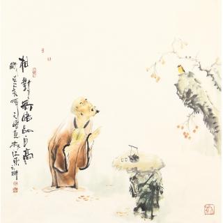 阳瑞萍四尺斗方人物画作品《相对无言品自高》