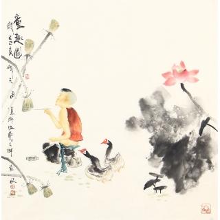 实力派画家阳瑞萍四尺斗方人物画作品《童趣图》
