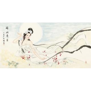 国画人物画 著名画家陈红梅四尺横幅仕女图《嫦娥奔月》