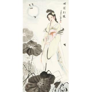 仕女图 陈红梅四尺竖幅人物画美女图《吹箫引凤》