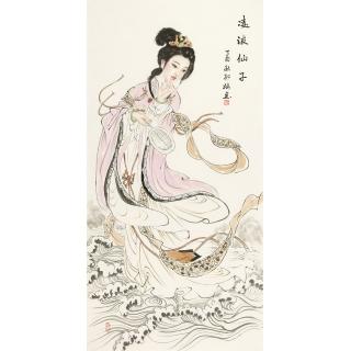 陈红梅四尺竖幅人物画仕女图《凌波仙子》
