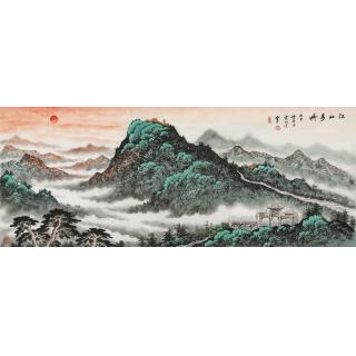 【已售】蓝国强小六尺横幅 国画山水画《江山多娇》