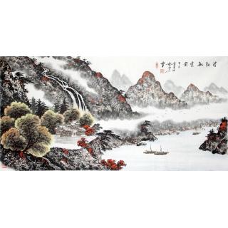 实力派画家蓝国强四尺横幅山水作品《清江秋煮图》