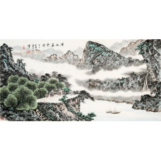 蓝国强四尺山水《清江飞雲图》