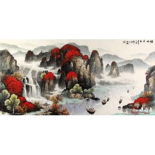【已售】杨炳钧最新力作鸿运山水画作品《胜地金秋》