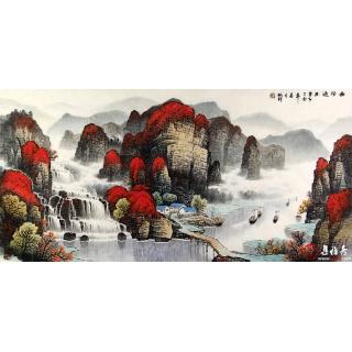 杨炳钧四尺幅国画山水画佳作《曲径通幽》