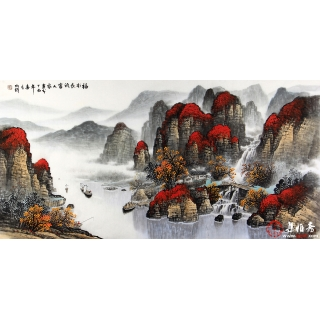 杨炳钧四尺幅国画山水画佳作《福地长流富人家》