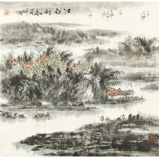 山水名家杨秀亮四尺斗方山水画作品《江南诗意》