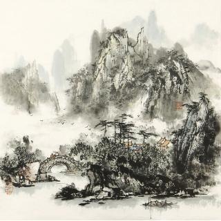 杨秀亮四尺斗方山水画作品《江山诗意入画图》