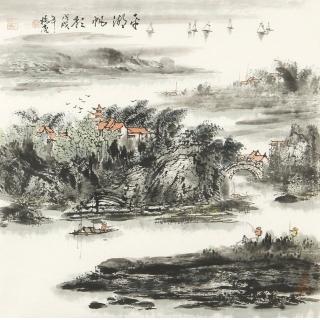 国家一级美术师杨秀亮四尺斗方山水画作品《平湖帆影》