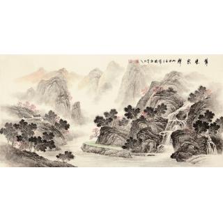 季宝国四尺写意山水画作品《翠壁泉聲》
