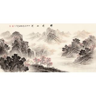 季宝国四尺写意山水画作品《锦绣山河》