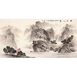 季宝国四尺写意山水画作品《溪山人家》