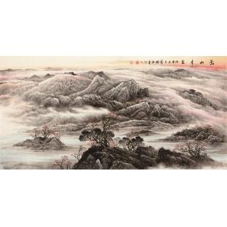 【已售】季宝国四尺写意山水画作品《峦山秀色》