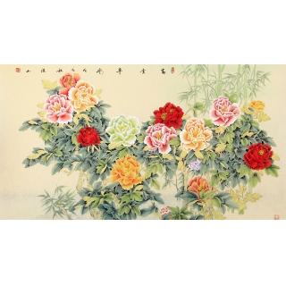 【已售】张洪山六尺横幅牡丹竹子图《富贵平安》