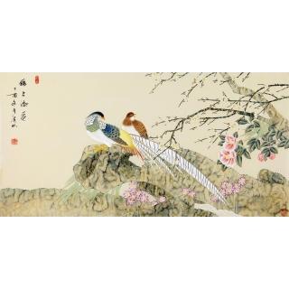 国家一级美术师张洪山四尺横幅原创精品画《锦上添花》