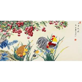 张洪山四尺横幅荔枝鸡作品《大吉大利》