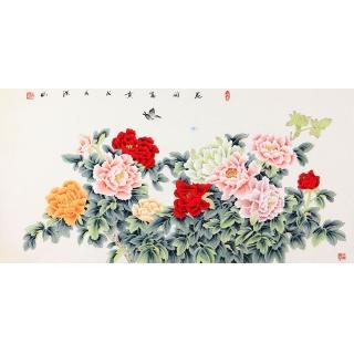 国画牡丹 张洪山四尺横幅花鸟画牡丹图《花开富贵》