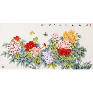 国画牡丹图 张洪山四尺横幅牡丹蝴蝶图《花开富贵》