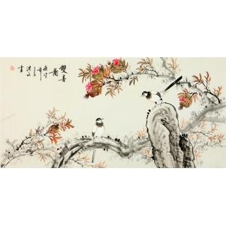 张洪山四尺横幅花鸟画《双喜图》