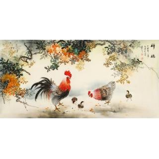 雄鸡图 张琳四尺横幅写意动物画《祥瑞》