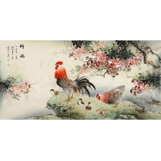 张琳四尺横幅写意画雄鸡图《祥瑞》