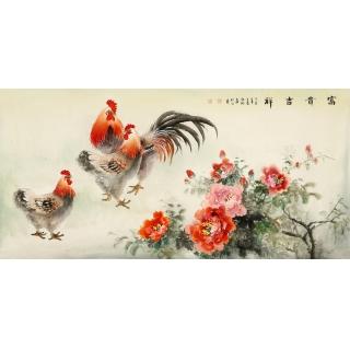 客厅挂画 张琳四尺横幅动物画雄鸡牡丹图《富贵吉祥》