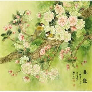 张琳四尺斗方国画花鸟画《春艳》